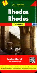 Rhodes, Greece Road Map by Freytag, Berndt und Artaria
