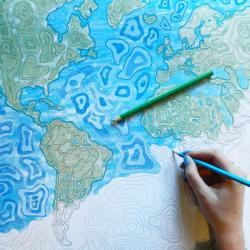 Color Your Own World Map.World Wall Maps Longitudemaps Com