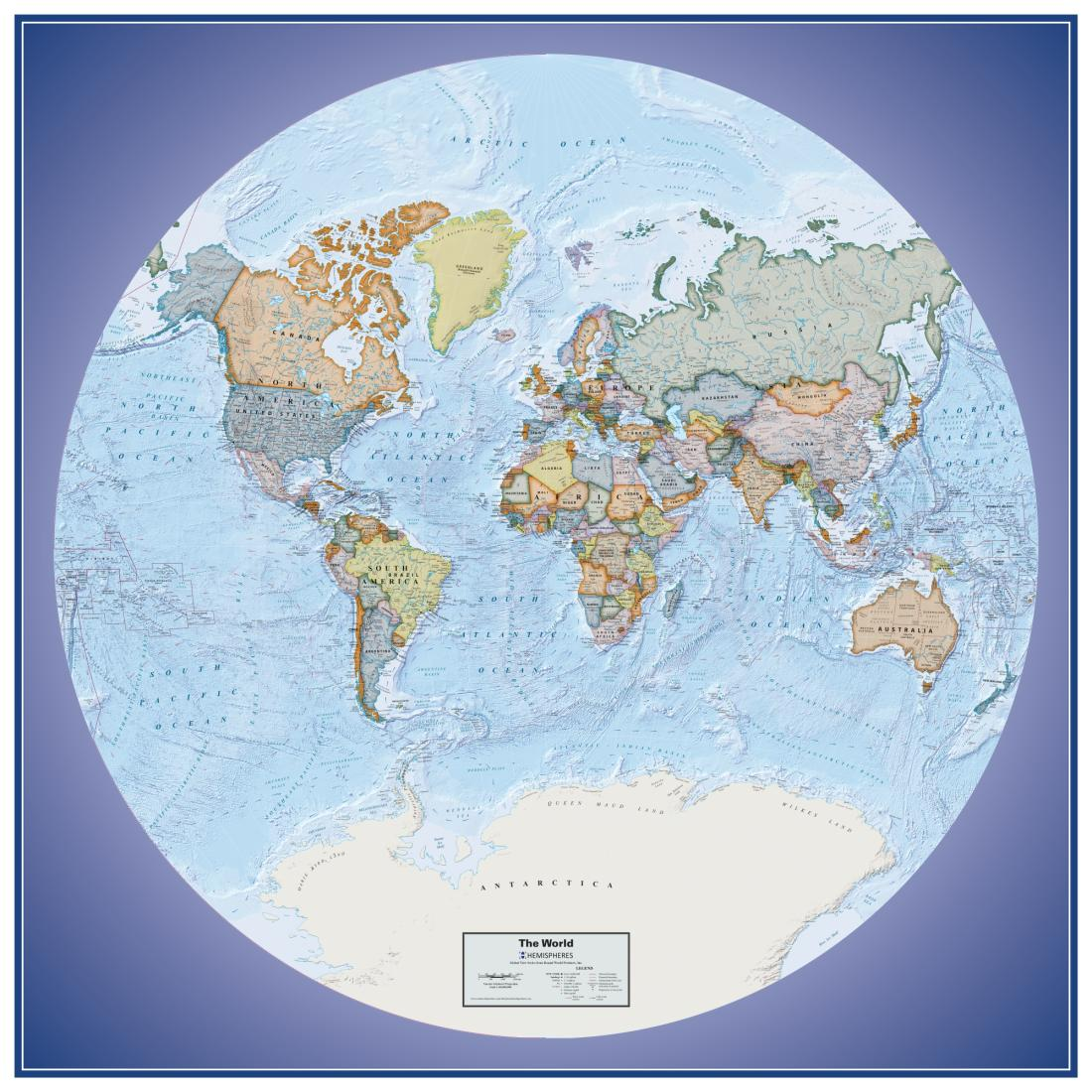 Hemispheres global view series world political wall map laminated hemispheres global view series world political wall map laminated edition by round world products inc gumiabroncs Choice Image