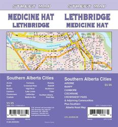 Lethbridge/Medicine Hat/Banff/Canmore/Cochrane/Airdrie, Alberta Street Map by GM Johnson