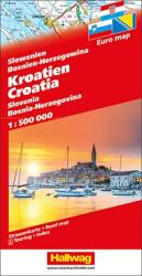Croatia, Slovenia, Bosnia-Herzegovina Road Map by Hallwag