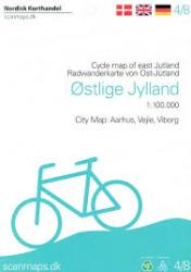 Cycle Map of East Jutland - Denmark 1:100,000 Cycle Map #4 by Nordisk Korthandel