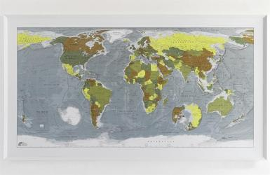 An Illustrated View of the World Version 2 : Red, Pink, Lime, Cream by Future Mapping Company