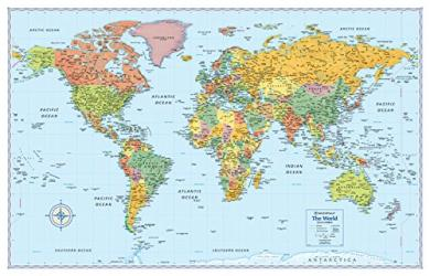 World, Signature Series Laminated Map, Blue by Rand McNally