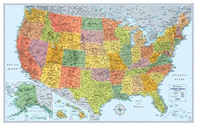 United States, Signature Series Paper Laminated Map, Blue by Rand McNally