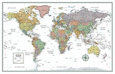 World Political, Premium Tyvek, Wall Map by Rand McNally