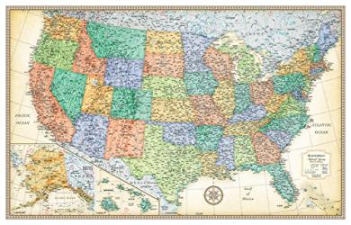United States, Classic Series Rolled Laminated Map, Beige by Rand McNally