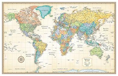 World, Classic Series Rolled Laminated Map, Beige by Rand McNally
