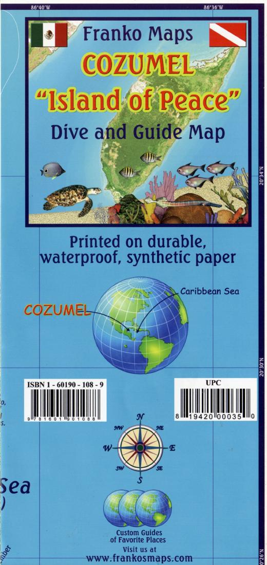 Caribbean Map Cozumel Guide And Dive Folded 2011 By Frankos Maps Ltd