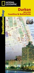 Durban, South Africa, Including Coastline and Battlefields, DestinationMap by National Geographic Maps