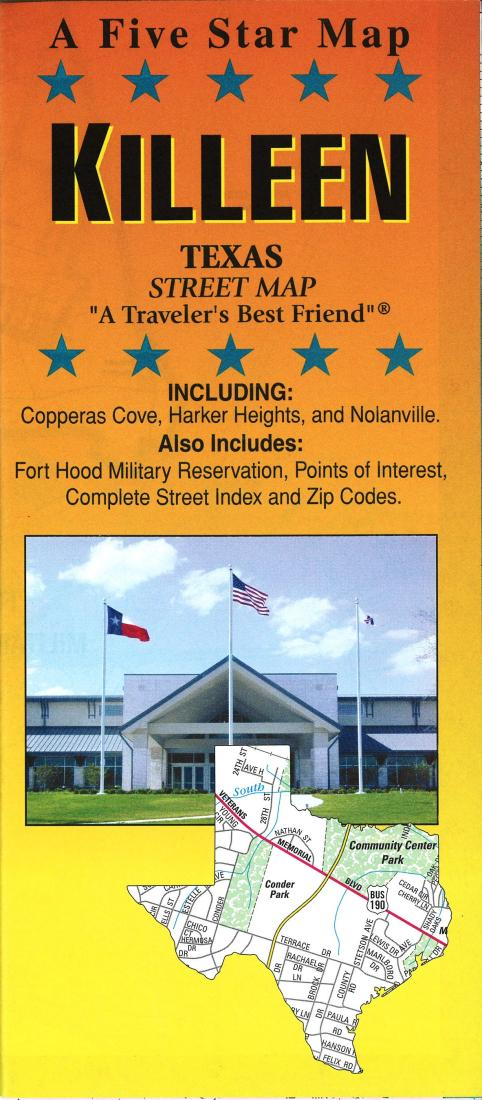Copperas Cove Zip Code Map.Killeen Texas By Five Star Maps Inc