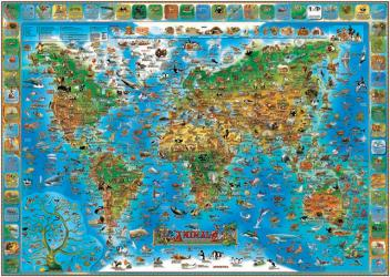 Dino's Illustrated Map of Animals of the World by Dino Maps