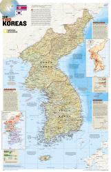 North Korea/South Korea, The Forgotten War, 2-Sided, Tubed by National Geographic Maps