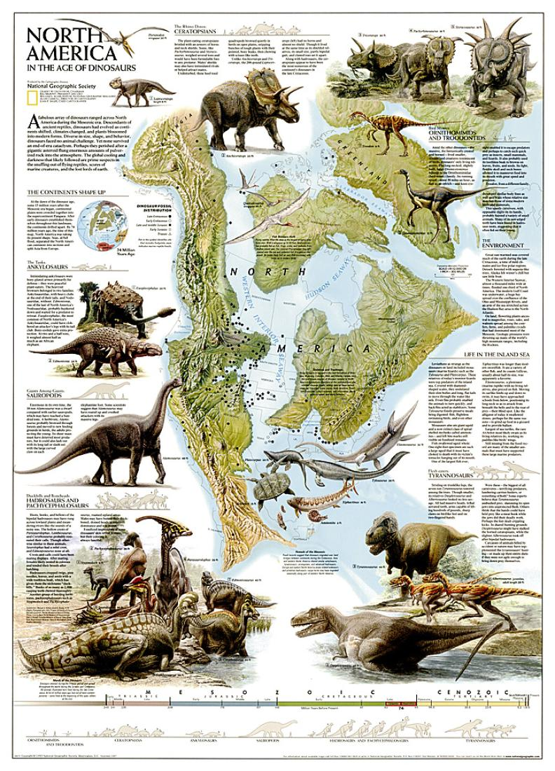 Dinosaurs Of North America Tubed By National Geographic Maps