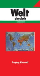 World, Physical, German edition by Freytag, Berndt und Artaria