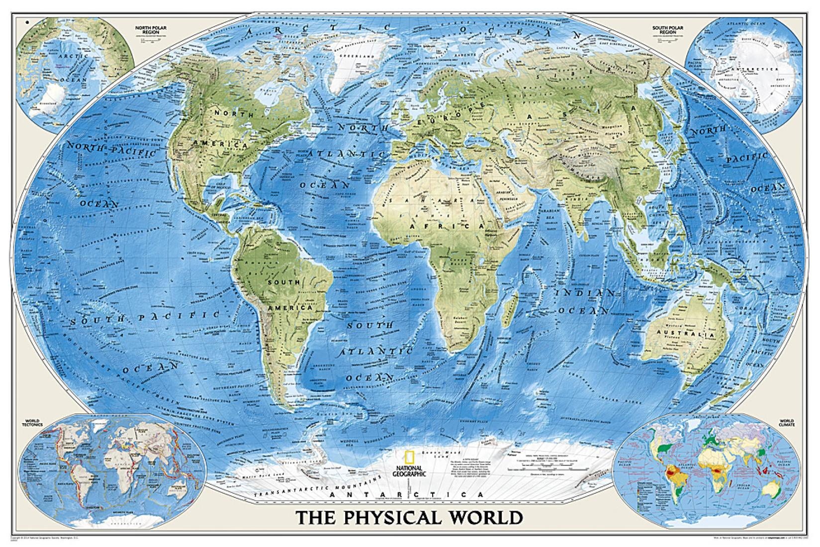 PhysicalOcean Floor Tubed By National Geographic Maps - The physical world map oceans