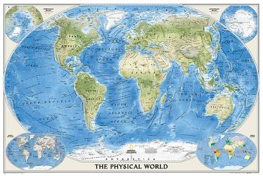 World, Physical, Laminated by National Geographic Maps