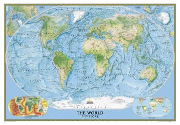 World, Physical, Enlarged and Laminated by National Geographic Maps