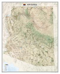 Arizona Wall Map (33 x 40.5 inches) (Tubed) by National Geographic Maps