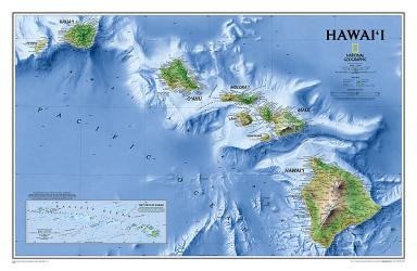 Hawaii Wall Map (34.75 x 22.75 inches) (Tubed) by National Geographic Maps
