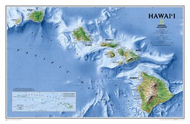 Hawaii Wall Map - Laminated (34.75 x 22.75 inches) by National Geographic Maps