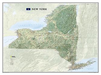 New York Wall Map (40.5 x 30.25 inches) by National Geographic Maps