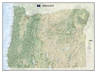 Oregon Wall Map (40.5 x 30.25 inches) (Tubed) by National Geographic Maps