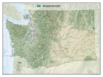 Washington Wall Map (40.5 x 30.25 inches) (Tubed) by National Geographic Maps