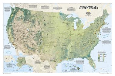 United States Physical Wall Map (38.25 x 25.25 inches) (Tubed) by National Geographic Maps