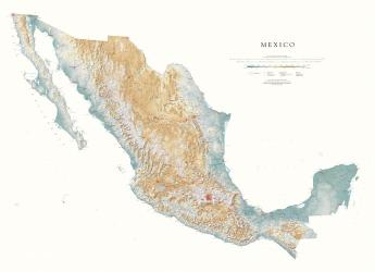 Mexico--Physical, Laminated Wall Map by Raven Press