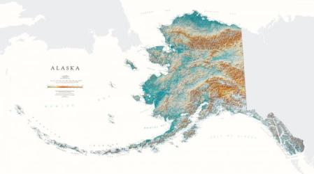 Alaska, Physical, Laminated Wall Map by Raven Maps
