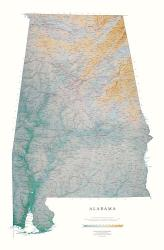 Alabama, Physical, Wall Map by Raven Maps