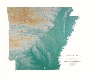 Arkansas, Physical Wall Map by Raven Maps