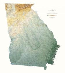 Georgia, Physical, Laminated Wall Map by Raven Maps