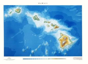 Hawaii, Physical, Laminated Wall Map by Raven Maps