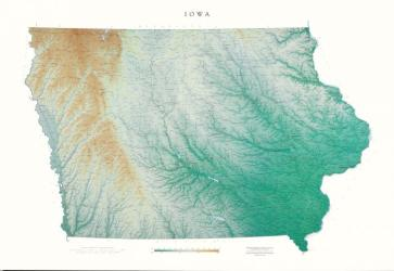 Iowa, Physical, Laminated Wall Map by Raven Press