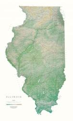 Illinois, Physical, Laminated Wall Map by Raven Maps