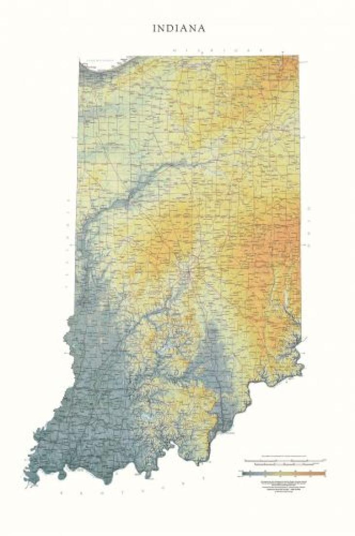 Indiana Physical Laminated Wall Map By Raven Maps - Indiana physical map