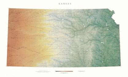 Kansas, Physical, Laminated Wall Map by Raven Maps