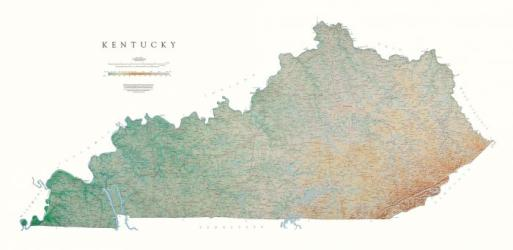 Kentucky, Physical, Laminated Wall Map by Raven Press