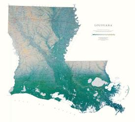 Louisiana, Physical, Laminated Wall Map by Raven Maps
