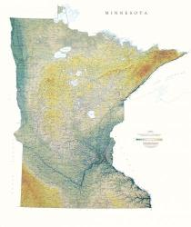 Minnesota, Physical, Laminated Wall Map by Raven Maps