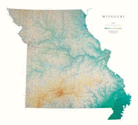 Missouri, Physical, Laminated Wall Map by Raven Maps