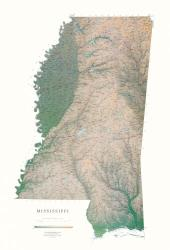 Mississippi, Physical Wall Map by Raven Press