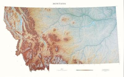 Montana, Physical Wall Map by Raven Press