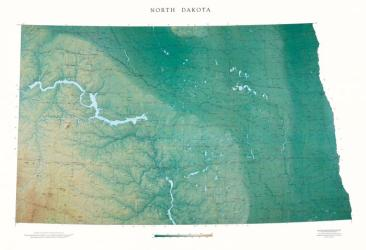 North Dakota, Physical, Laminated Wall Map by Raven Maps
