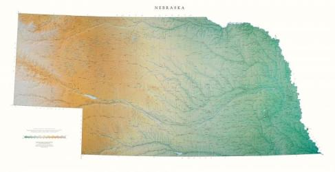Nebraska, Physical, Laminated Wall Map by Raven Maps