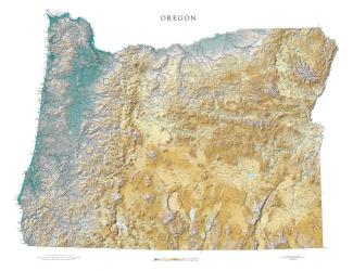 Oregon, Physical, Laminated Wall Map by Raven Maps