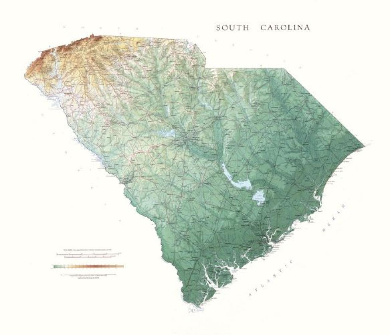 South Carolina, Physical, Laminated by Raven Maps