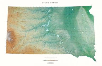 South Dakota, Physical, Laminated Wall Map by Raven Maps